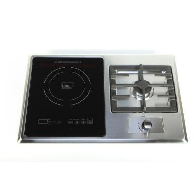 25 in. Gas + Induction Combo in Black and Stainless Steel with 1 Gas Burner and 1 Induction