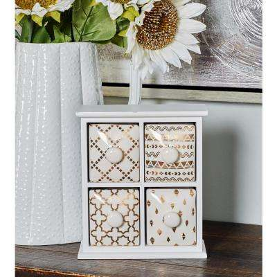 White Rectangular 4-Drawer Jewelry Chest with Gold Accents