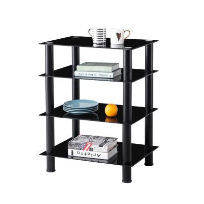 Black 4-Tier Multi-Functional TV Stand For Media Devices