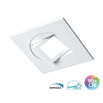 DQR4MA Series 4 in. Square 3000K White Integrated LED Recessed Gimbal/Eyeball Trim
