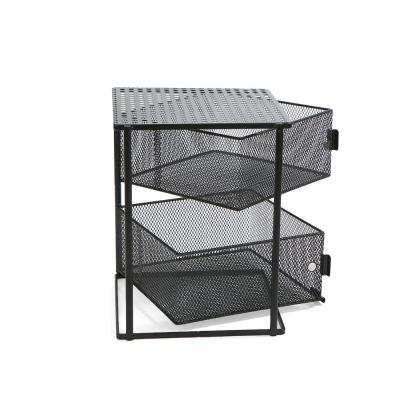 Rotating All Purpose 2 Tier Shelf, Baskets, Drawers with Magnets, Black