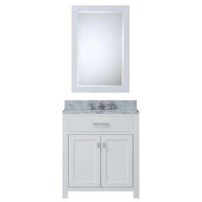 Madison 30 in. Vanity in Modern White with Marble Vanity Top in Carrara White and Matching Mirror
