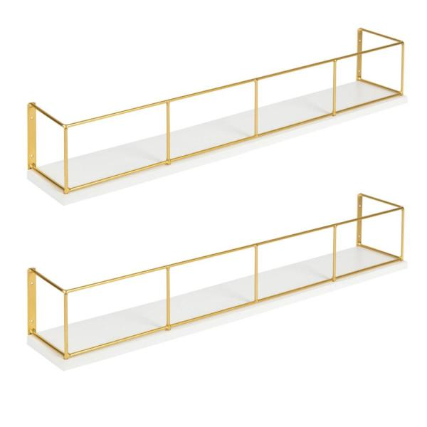 Kate and Laurel Benbrook 4 in. x 24 in. x 4 in. White/Gold Wood Decorative Wall Shelf