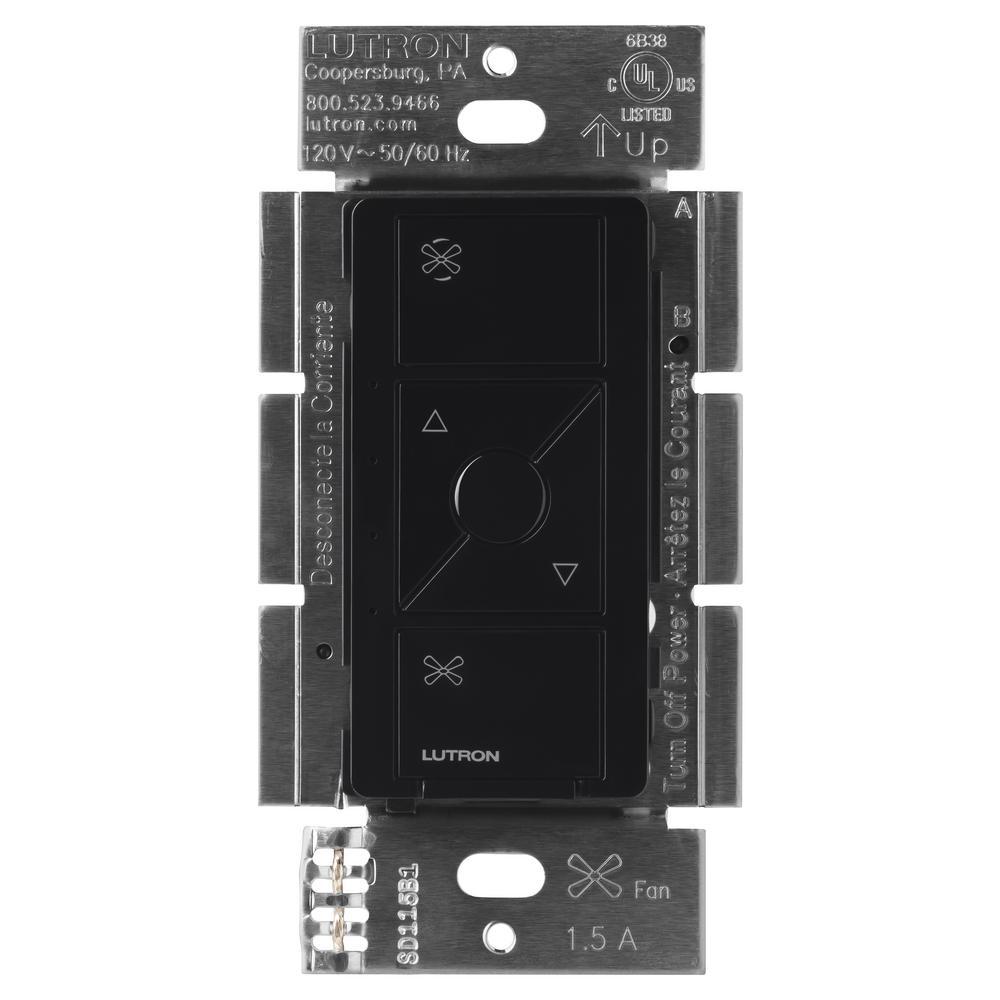 Single-Pole Caseta Wireless Smart Fan Speed Control, Black