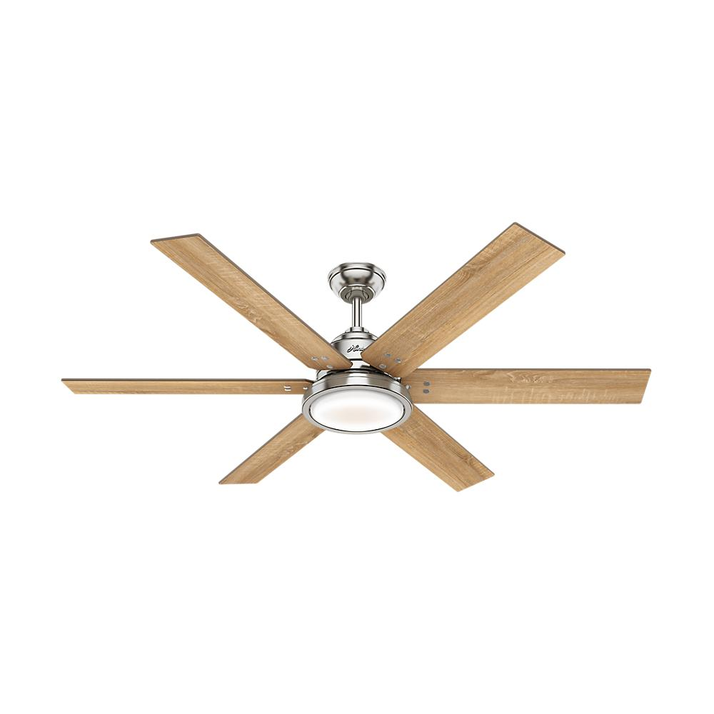 Hunter Warrant 60 in. Integrated LED Indoor Brushed Nickel Ceiling Fan with Light and Remote Control