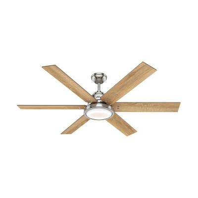 Warrant 60 in. Integrated LED Indoor Brushed Nickel Ceiling Fan with Light and Remote Control