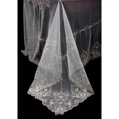 80 in. x 80 in. Exquisite Heart Lace Embroidered Tablecloth with Beaded Accents