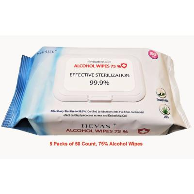 75% Alcohol Wipes, 50-Count, Sterilization Rate 99.9%, Disinfecting Wipes, Combo of (5-Packs)