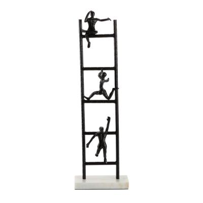 LITTON LANE Tall Black Metal Ladder Climber Sculpture With Light Marble Rectangular Base, 8 in. x 26 in.