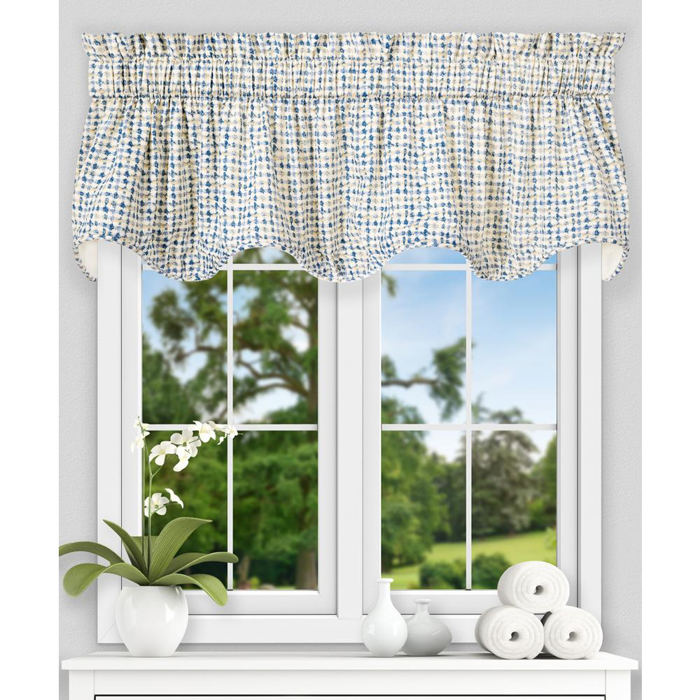 Davins 17 in. L Cotton Lined Scallop Valance in Blue