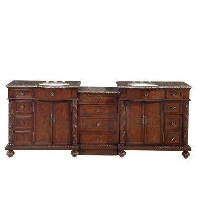 90.25 in. W x 22 in. D Vanity in English Chestnut with Granite Vanity Top in Baltic Brown with White Basin