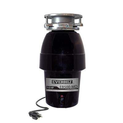 1/2 HP Sound Insulated Continuous Feed Garbage Disposal with Attached Power Cord