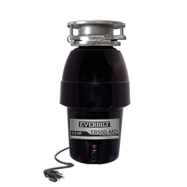 1/2 HP Sound Insulated Continuous Feed Garbage Disposal with Stainless Steel Sink Flange and Attached Power Cord
