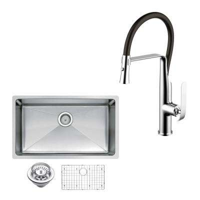 All-In-One Undermount Stainless Steel 30 in. Single Bowl Kitchen Sink with Faucet in Chrome Sink Kit