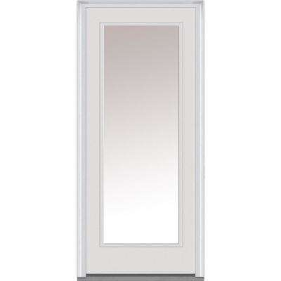 34 in. x 80 in. Left-Hand Inswing Full-Lite Clear Glass Primed Fiberglass Smooth Prehung Front Door on 6-9/16 in. Frame