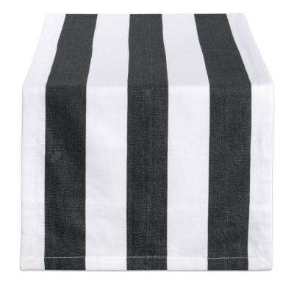 Black Dobby Stripe Cotton Table Runner