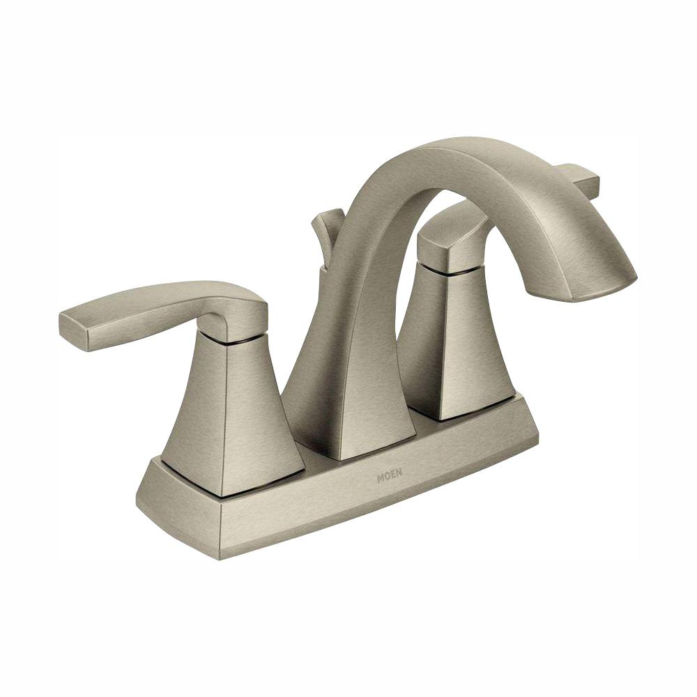 MOEN Voss 4 in. Centerset 2-Handle Bathroom Faucet in Brushed Nickel