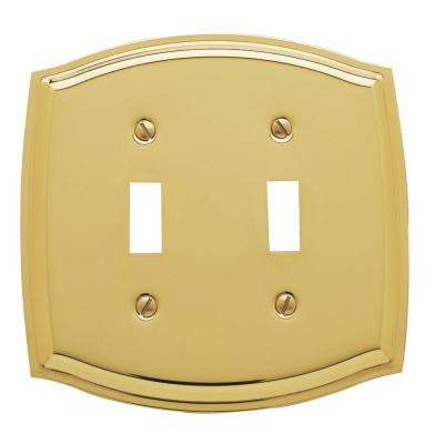 Colonial 2 Toggle Wall Plate - Polished Brass