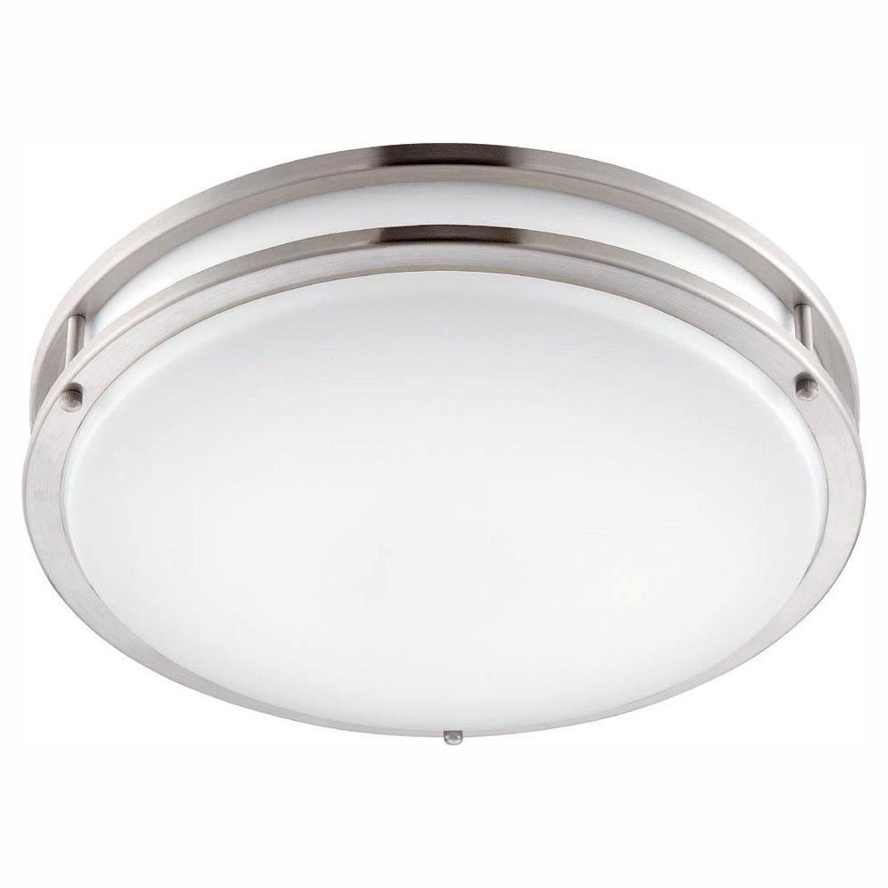 12 in. Brushed Nickel/White LED Ceiling Low-Profile Flushmount Light