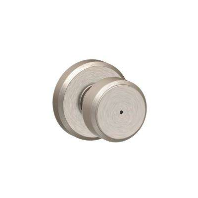 Bowery Satin Nickel Privacy Bed/Bath Door Knob with Greyson Trim