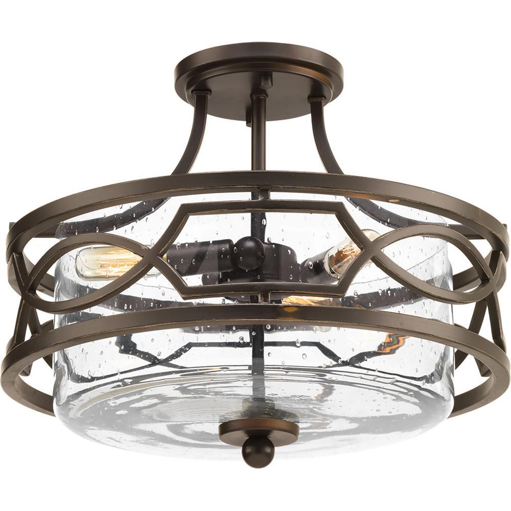 Soiree Collection 3-Light Antique Bronze Semi-Flushmount