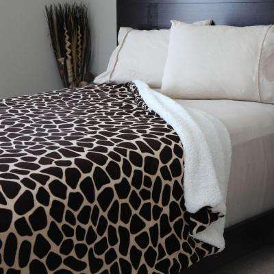 Giraffe Print Fleece/Sherpa Polyester King Blanket
