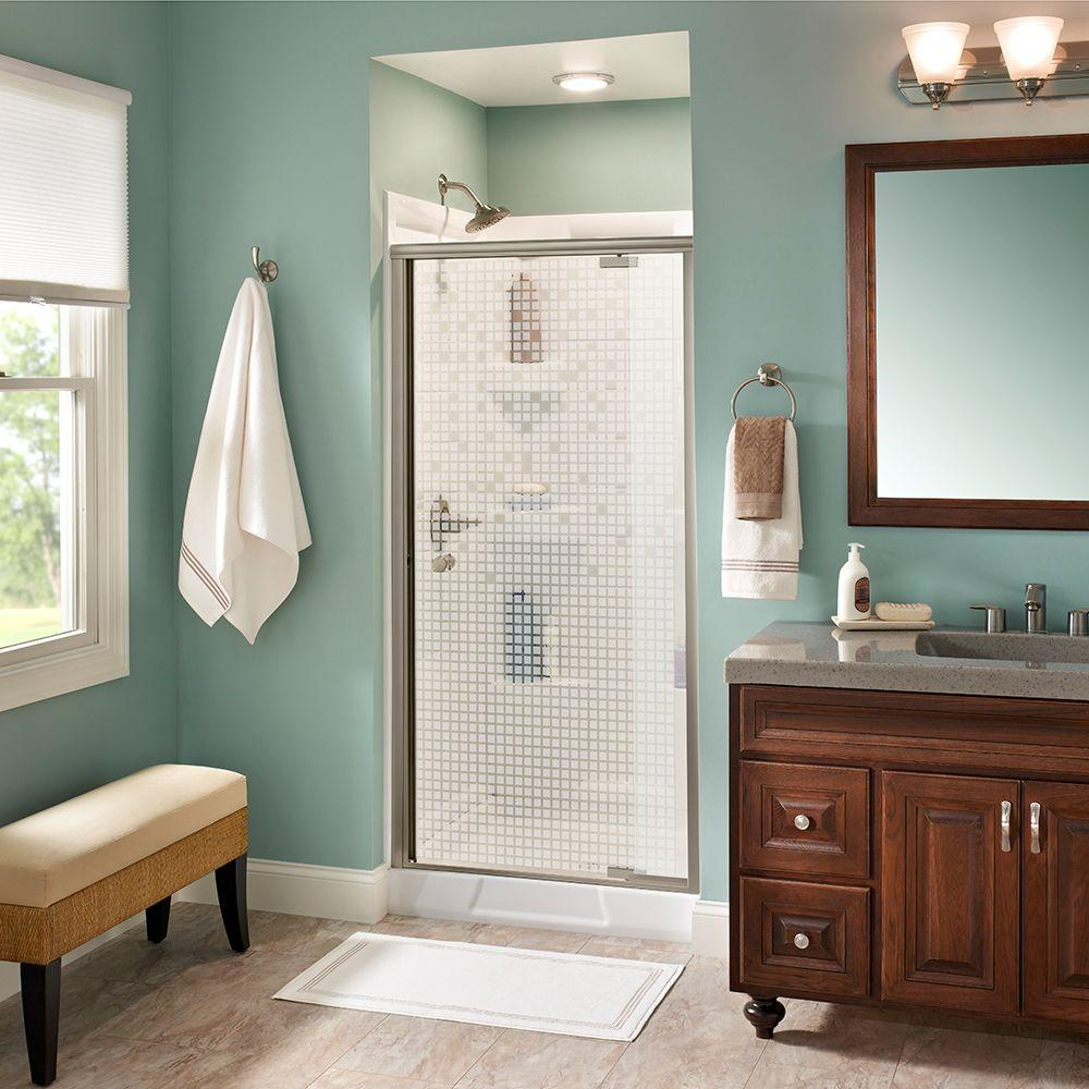 Lyndall 36 in. x 66 in. Semi-Frameless Pivot Shower Door in