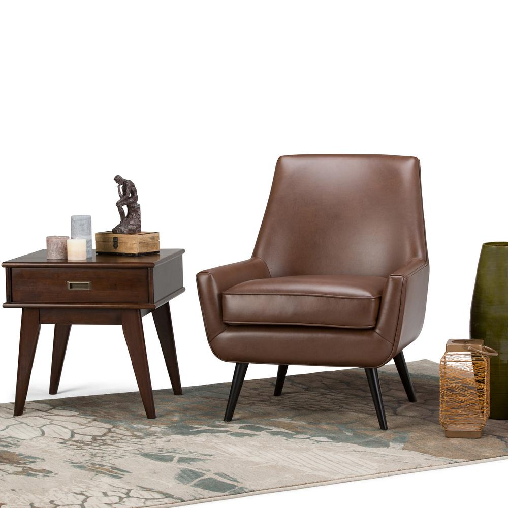 simpli home warhol saddle brown air leather accent chair