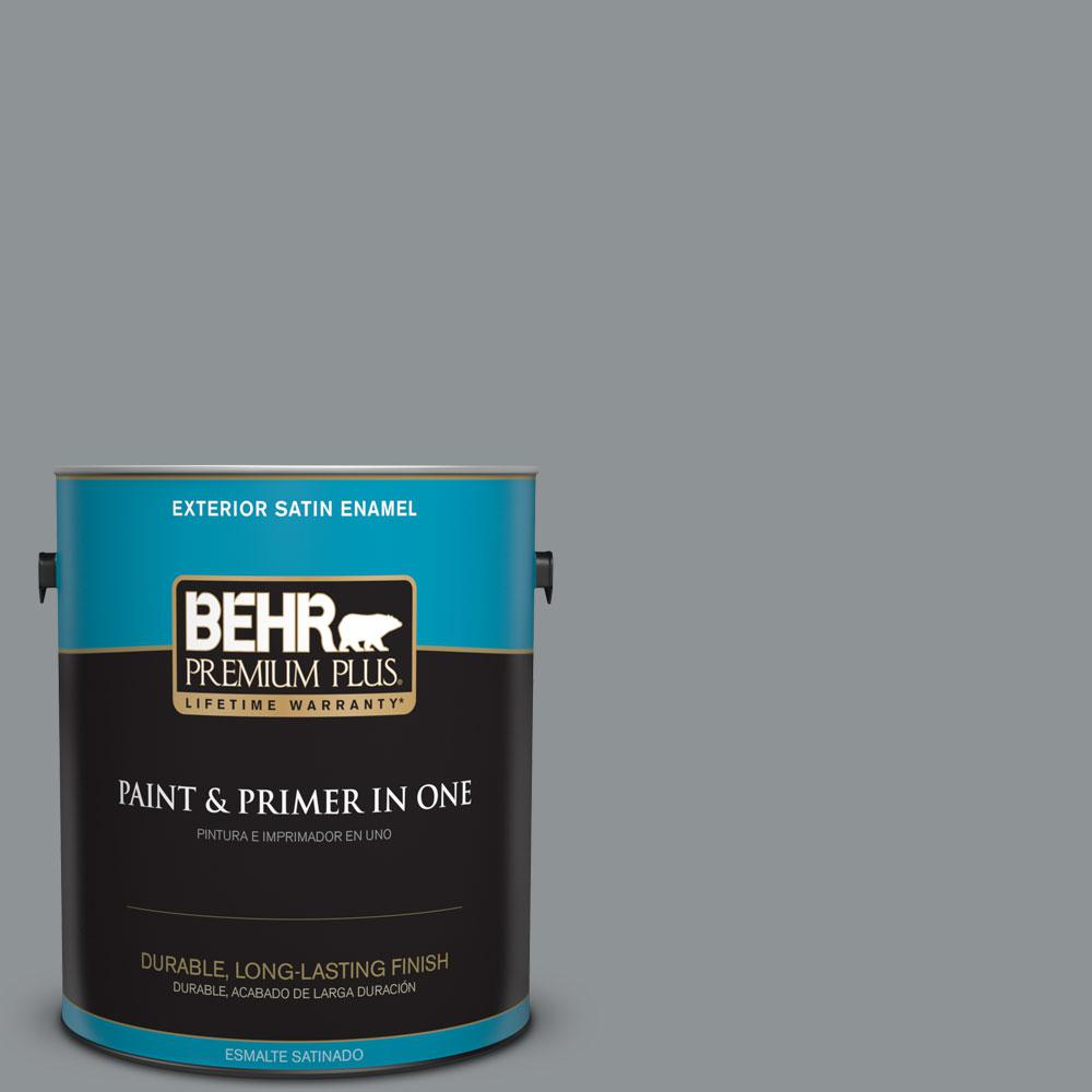 BEHR Premium Plus 1-gal. #770F-4 Gray Area Satin Enamel Exterior Paint