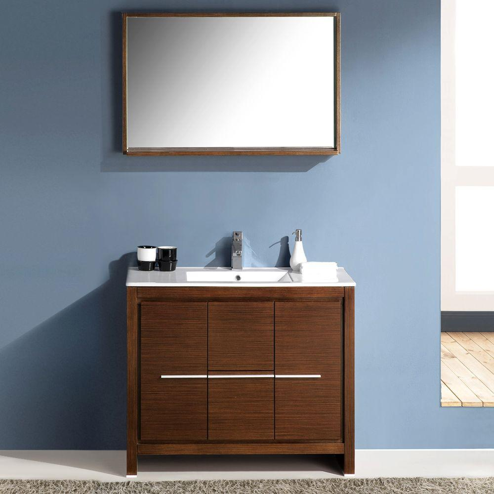 Specials Baltic Bathroom Vanity Base Unit Mirror Dark Brown Wenge Wood Veneer