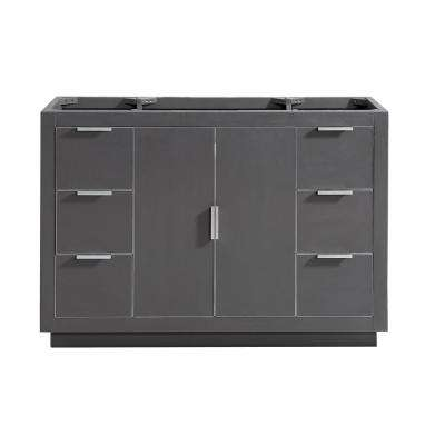 Austen 48 in. W x 21.5 in. D x 34 in. H Bath Vanity Cabinet Only in Twilight Gray with Gold Trim