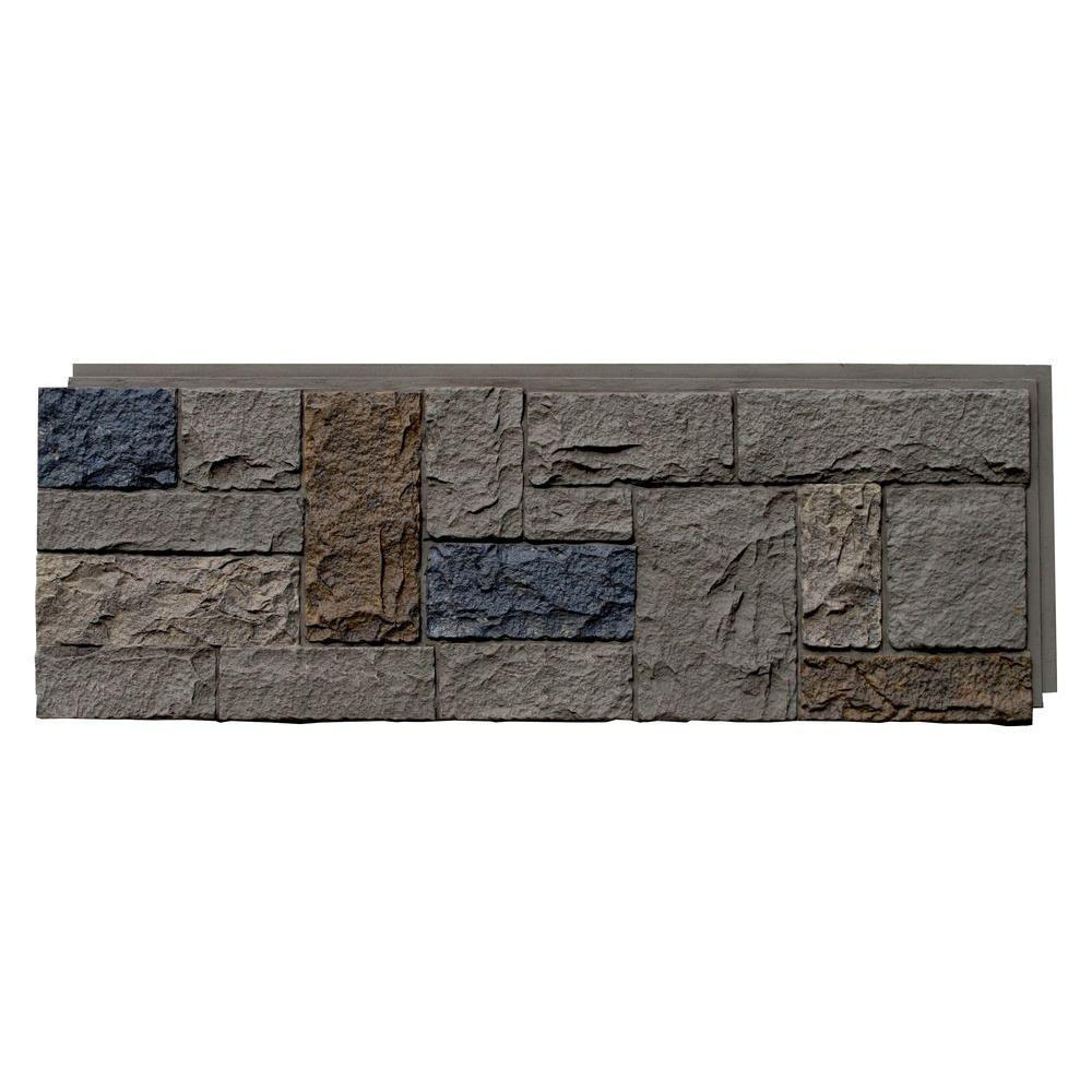 NextStone Castle Rock Tudor Gray 15.25 In. X 43.25 In. Faux Stone Siding  Panel