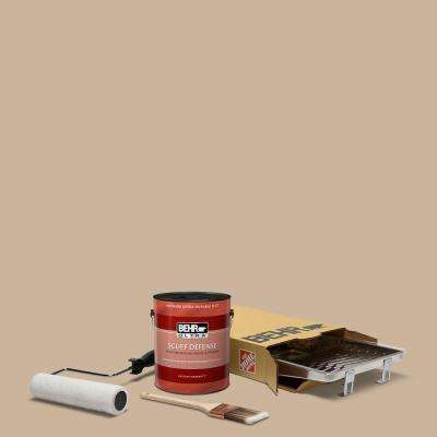 1 gal. #PPU4-07 Mushroom Bisque Ultra Extra Durable Flat Interior Paint and 5-Piece Wooster Set All-in-One Project Kit