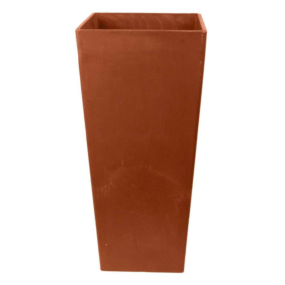 Arcadia Garden Products Contempo Tall Square 13 in. x 13 in. x 28 in. Terra Cotta PSW Pot