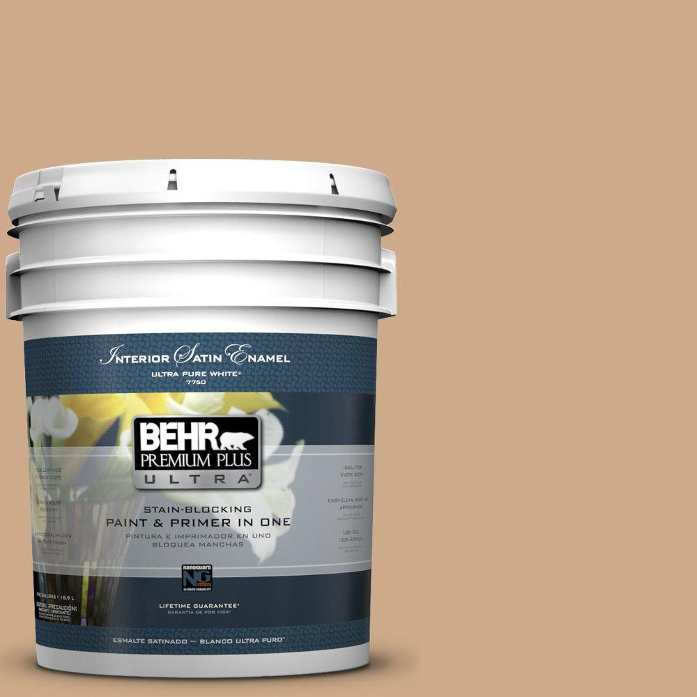BEHR Premium Plus Ultra 5-gal. #N280-4 Perfect Tan Satin Enamel Interior Paint