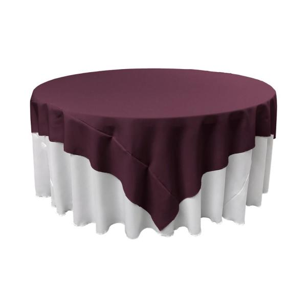 90 in. x 90 in. Eggplant Polyester Poplin Square Tablecloth