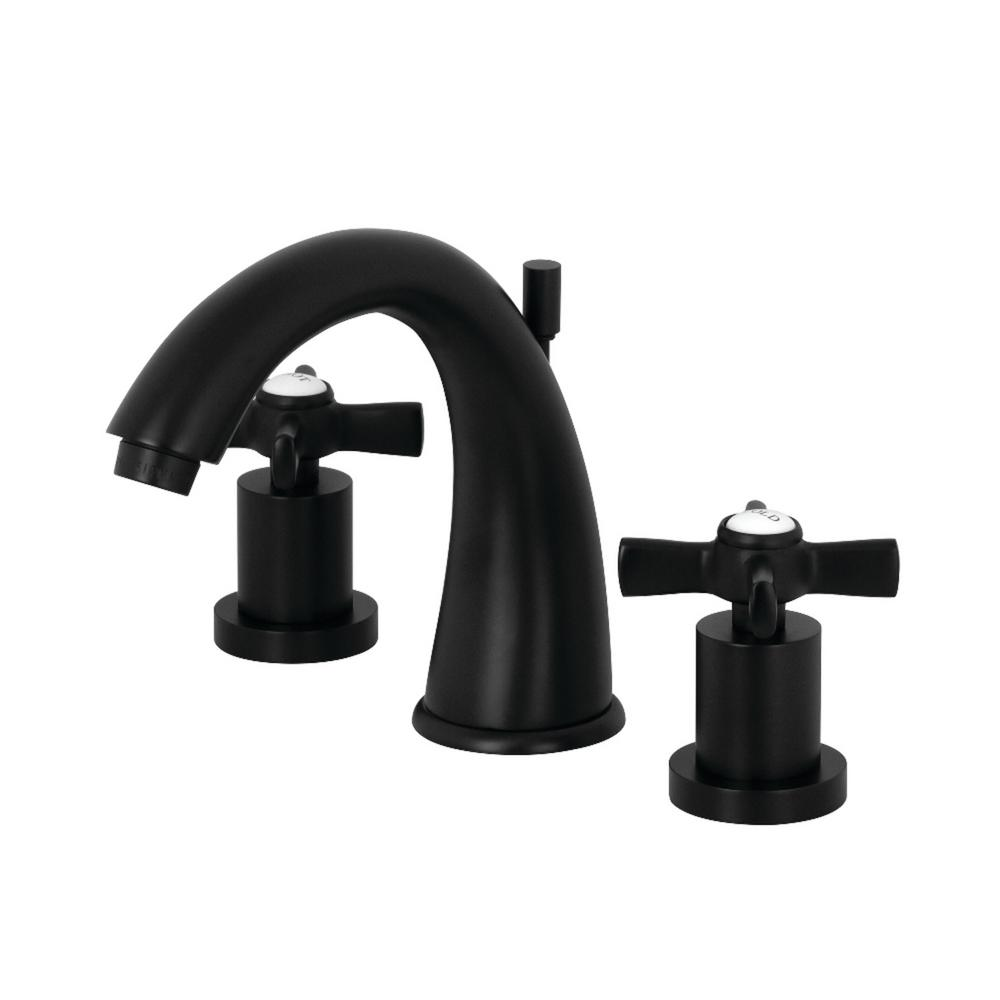 Kingston Brass Modern Cross 8 In. Widespread 2-Handle Mid-Arc Bathroom Faucet In Matte Black