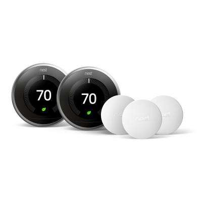 Smart Learning Wi-Fi 24-Day Programmable Thermostat, 3rd Gen, Stainless Steel (2-Pack) with Temperature Sensor (3-Pack)
