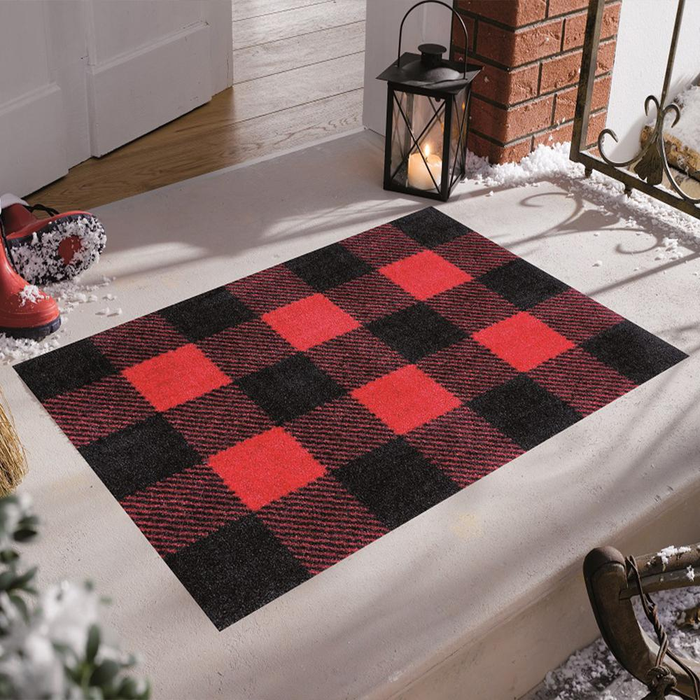 Studio 67 In Home Washable Non Slip Buffalo Plaid Red 2 Ft 3 In X 3 Ft 11 In Area Rug Mat