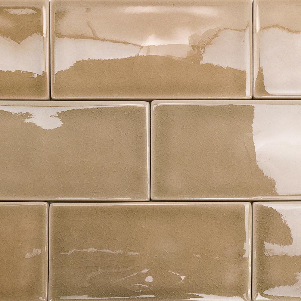 Subway 3x6 Gold Ceramic Tile The Home Depot