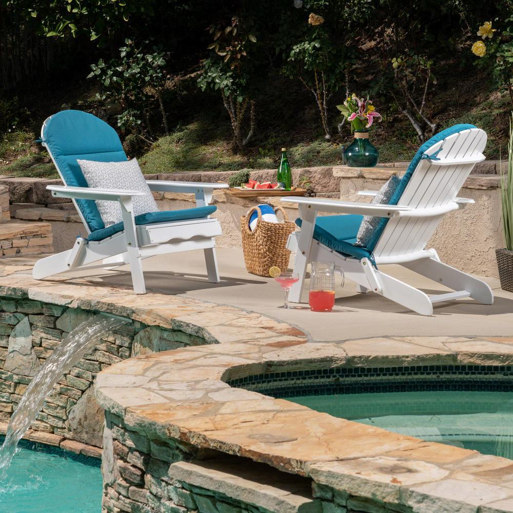 Le House Malibu White Folding Wood Adirondack Chairs With Dark Teal Cushions 2 Pack