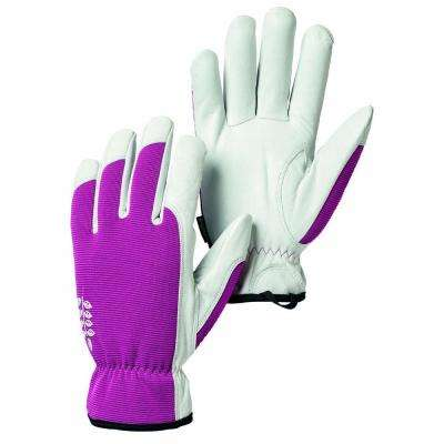 Kobolt Garden Size 8 Medium Versatile and Flexible Goatskin Leather Gloves in Fuschia/White