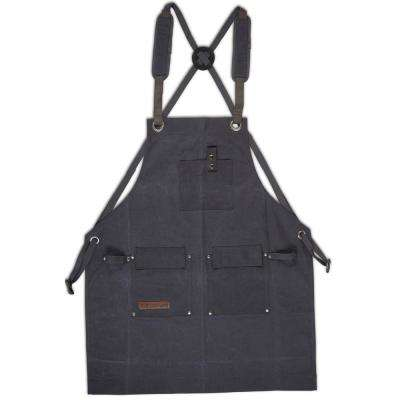 27 in. x 34 in. 4-Pocket Canvas Shop Apron Deluxe Edition Grey Heavy-Duty Waxed
