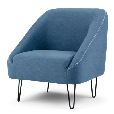 Gretchen and Metal 32 in. Wide Mid Century Modern Accent Chair with Hairpin Legs in Denim Blue