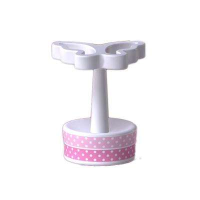 Butterfly Dots Collection 4 in. Toothbrush Holder in White with Pink Details