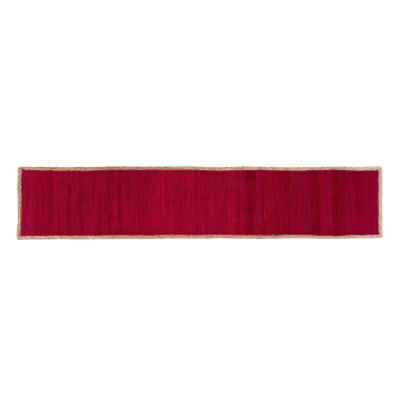Element Border Woven Burgundy Cotton Table Runner