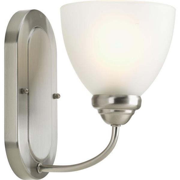 Heart Collection 1-Light Brushed Nickel Bath Sconce with Etched Glass Shade