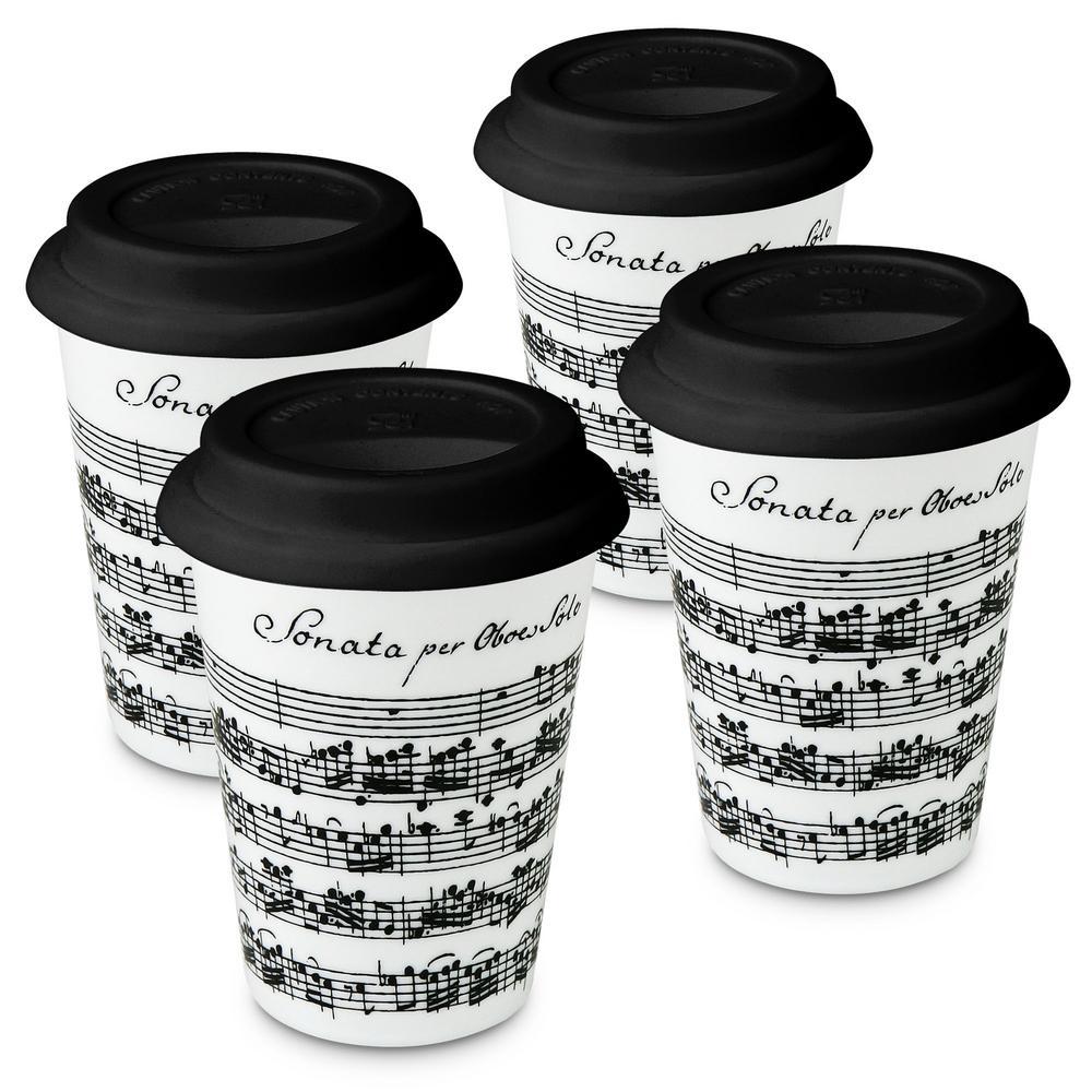 Konitz 4-Piece Vivaldi Libretto White Travel Porcelain Mug Set