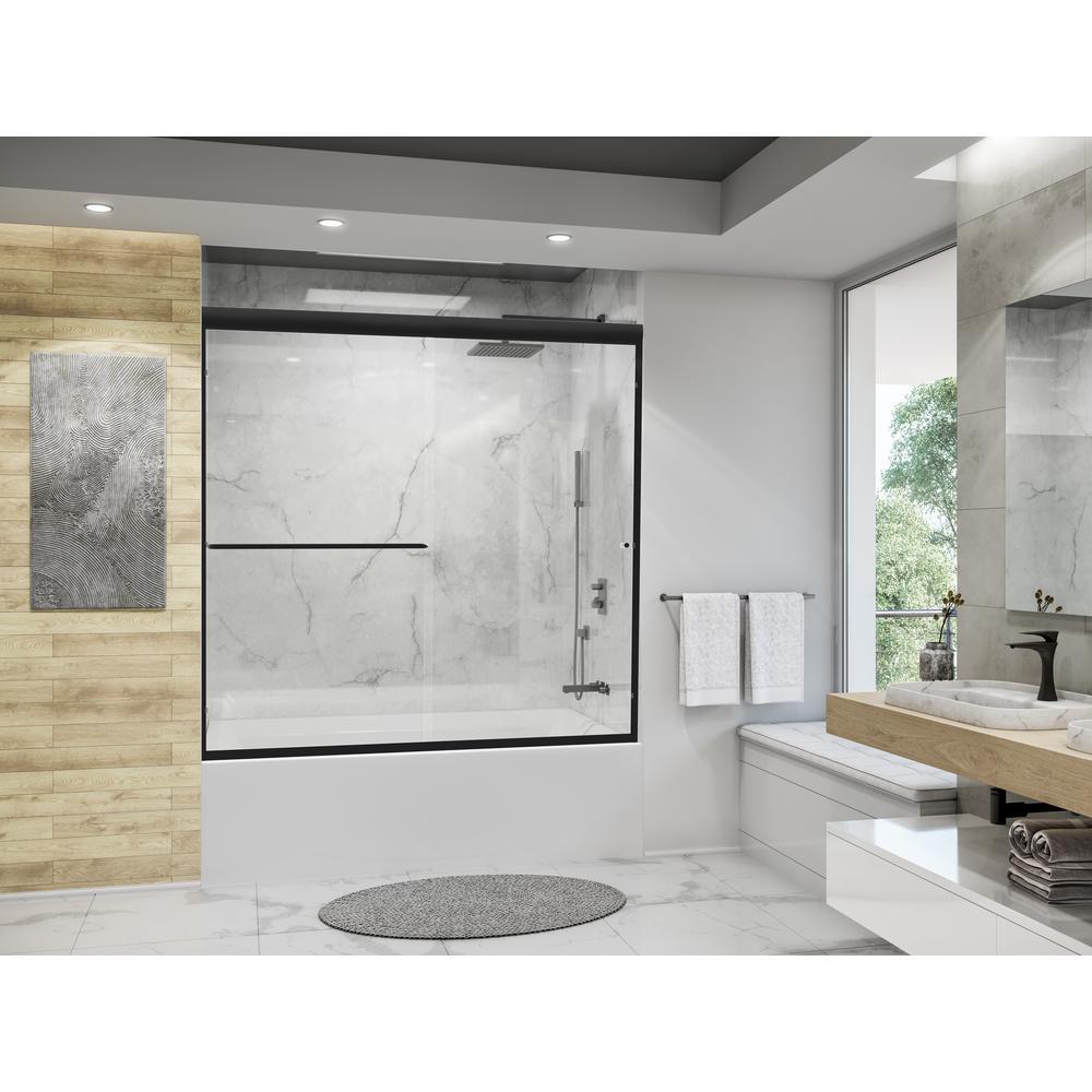 Eurolite 60 in. x 57.5 in. Frameless Sliding Bathtub Door in Matte Black