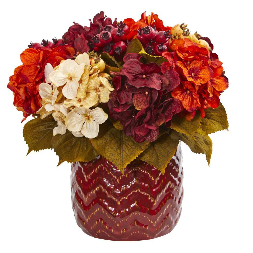 Indoor Hydrangea Berry Artificial Arrangement in Red Vase